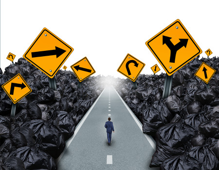 garbage: Garbage direction concept and environmental symbol as a person walking on a straight road with signs cutting through a background with garbage bags as a metaphor for global waste management hope for the future.