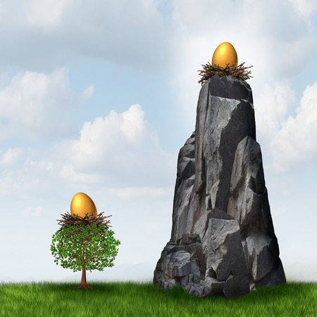 retirement nest egg: Secure investment choice as a golden nest egg in a low tree and another retirement or savings gold fund on a high hard access rock mountain as a financial and business metaphor for retirement security safeguard. Stock Photo