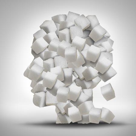 salud: Azúcar concepto de la adicción como una cabeza humana hecha de cubos blancos granulados dulces refinados como un símbolo de atención médica para ser adicto a los edulcorantes y los problemas médicos relacionados con los alimentos procesados.