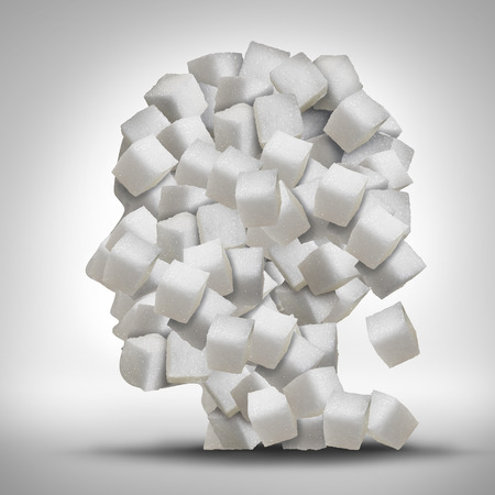 Sugar addiction concept as a human head made of white granulated refined sweet cubes as a health care symbol for being addicted to sweeteners and the medical issues pertaining to processed food. Stockfoto