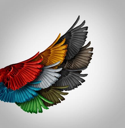 bandada pajaros: Concepto de Alianza y trabajar juntos idea de negocio como un grupo diverso de alas de pájaro que viene como uno para formar un ala poderosa gigante como una metáfora para el éxito sinergia cooperación y el apoyo de los empleados. Foto de archivo