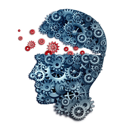 brainwash: Business teacher and mentorship concept as a learn and lead symbol for career skill building from a corporate trainer as a human head made of gears and cogs on a white background.