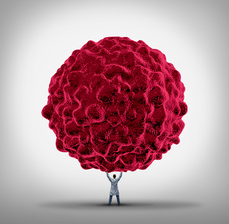 Cancer Doctor and carcinoma treatment concept as a specialist physician lifting up a giant cancerous cell as a health care therapy symbol to fight malignant tumors in the human body.