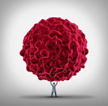 rak: Koncepcja raka Lekarz i leczenie raka jako lekarza specjalisty podniesieniem gigantyczne komórki nowotworowej, jako symbol opieki zdrowotnej terapii nowotworów złośliwych walczyć w ludzkim organizmie.