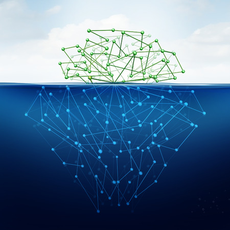 Deep web and hidden internet technology as a digital age issue concept as a dark website in cyberspace underground from  search engines as a content symbol for the deepnet as a network group of connected geometry shaped as an iceberg icon.