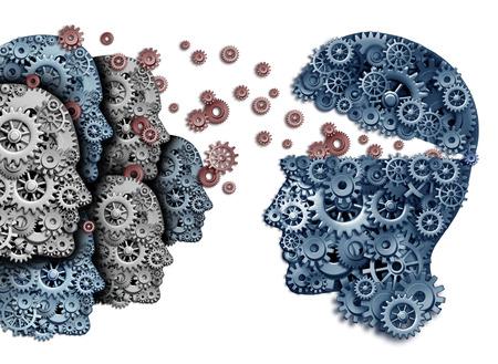 aprendizaje: Empleado formación de un grupo para dirigir y aprender un equipo de trabajadores de aprendizaje de un líder que comparten una estrategia y visión común para el desarrollo de habilidades de trabajo para el éxito como engranajes y dientes en forma de una cabeza humana sobre un fondo blanco.