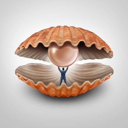ostra: Encontrar fortuna concepto de negocio como empresario dentro de una explotación concha abierta y levantando una perla preciosa gigante como símbolo financiero y metáfora de la prosperidad y el descubrimiento de los activos de riqueza.