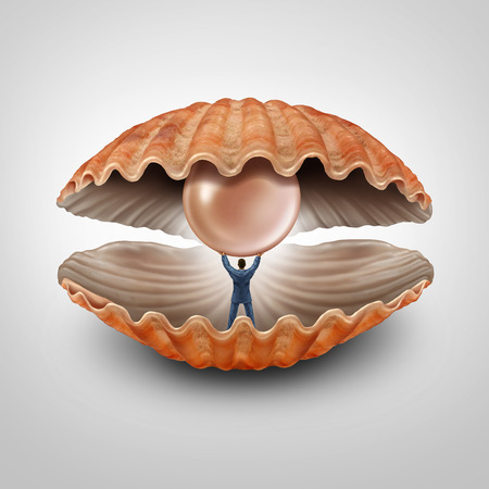 wealth concept: Finding fortune business concept as a businessman inside an open seashell holding and lifting up a giant precious pearl as a financial symbol and metaphor for prosperity and discovery of wealth assets.