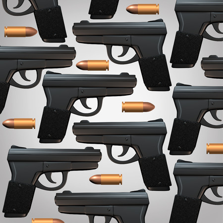 social issues: Gun and bullet background for legal social issues and firearm laws concept as a generic three dimensional handgun and bullets as a symbol for revolver owners and weapons possession.