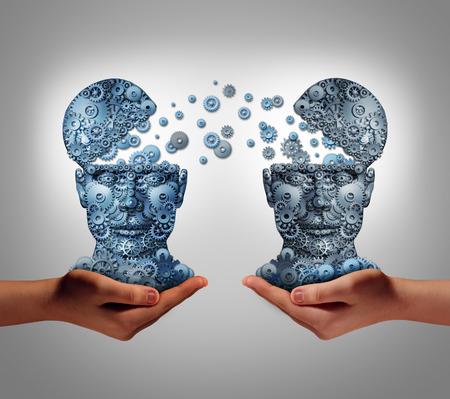 Compartiendo la tecnología concepto de negocio como las manos que sostienen dos cabezas humanas hechas de engranajes y ruedas dentadas que intercambian información como símbolo y metáfora financiera para comprar y vender o compartir los datos de una compañía a otra.