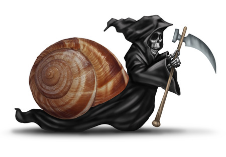 Slow aging health care concept as a snail shell with a grim reaper character moving slowly as a health care metaphor for delaying death and living a healthy longer life.