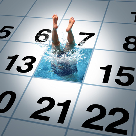 Swimming time as a person jumping and diving into a calendar with a refreshing cool pool as a fitness and healthy exercise  lifestyle symbol or summer break concept.