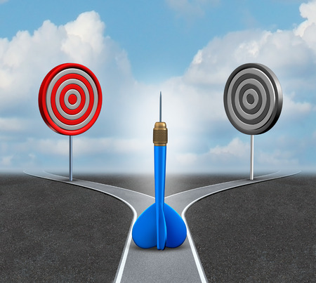 impasse: Strategy decision business concept as a confused blue dart deciding which bull eye target to aim for as a metaphor for strategic advice and consulting. Stock Photo
