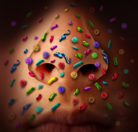 코는 질병 확산과 미세한 바이러스와 박테리아 감염 전염성 독감 바이러스 또는 감염을 잡기의 건강 위험 개념으로 공공 장소에서 질병 확산의 위험을 스톡 콘텐츠
