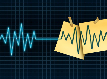 indefinite: Life extension concept as a medicine and medical science symbol for slowing down or reversing the process of aging as an ekg or ecg lifeline death flatline with taped office notes extending the the lifesespan of a patient or organ donation and transplant.