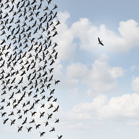 alone in crowd: Independent thinker concept and new leadership concept or individuality as a group of flying geese with one individual bird going in the opposite direction as a business symbol for innovative thinking and as a different nonconformist maverick.