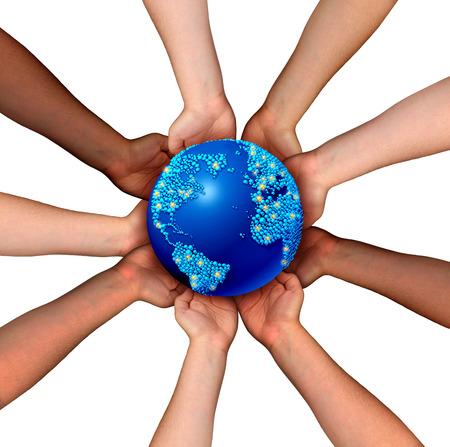 connecting: Global connections and globalization concept as a connected business network of multiethnic people holding a world map planet for worldwide cooperation and trade agreement unity. Stock Photo