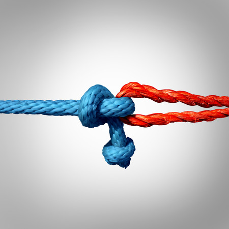 chain links: Connected concept as two different ropes tied and linked together as an unbreakable chain as a trust and faith metaphor for dependence and reliance on a trusted partner for support and strength.