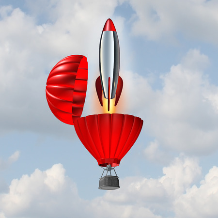 momentum: Ambition concept and building momentum symbol of business success as a hot air balloon opening up with an emerging rocket ship blasting off for accelerated strategy to reach an objective.