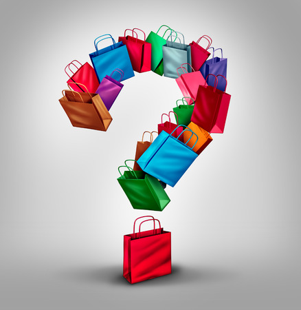 product information: Shopping questions concept as a group of retail store bags shaped as a three dimensional question mark as a symbol and icon for consumer services and buying information as sales or product information. Stock Photo