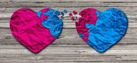Romantic relationship concept as two hearts made of torn crumpled paper on weathered wood as a symbol for romance attachment and exchange of feelings and emotions of love. Banque d'images
