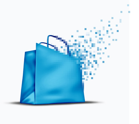 technology transaction: Online shopping and e-commerce concept as an internet store sale symbol with a shop bag that is transforming into digital pixels for web commerce in cyberspace. Stock Photo