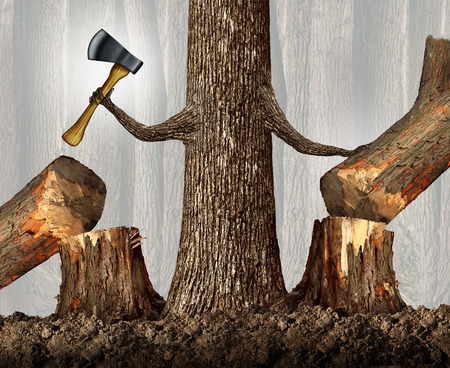 eliminating: Competitive strategy concept as a ruthless tree eliminating competition by cutting them down as a career and ambition business idea as a metaphor with a powerful tree holding an ax moving market competitors with branches shaped as human arms.