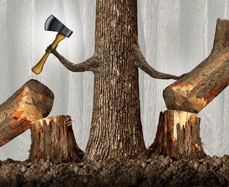 competencia: Concepto de estrategia competitiva como un árbol despiadada eliminar la competencia por el corte hacia abajo como una carrera y ambición idea de negocio como una metáfora con un árbol de gran alcance que sostiene un hacha en movimiento competidores en el mercado con ramas formadas como brazos humanos.
