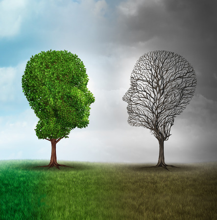 psychiatry: Human mood and emotion disorder concept as a tree shaped as two human faces with one half full of leaves and the opposite side empty branches as a medical metaphor for psychological contrast in feelings.