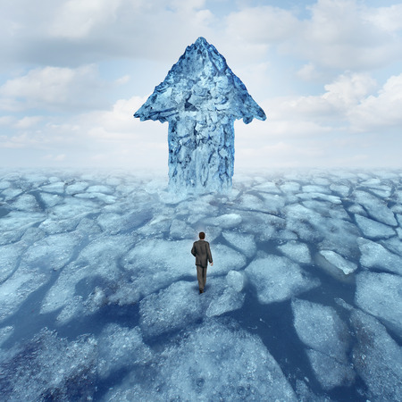 risk: Success journey concept as a businessman walking on broken frozen ice with an iceberg shaped as an arrow as a metaphor for danger risk and opportunity.