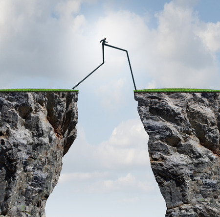 cliff jumping: Overcoming an obstacle concept as a businessman with very long legs walking past through two high cliffs as a success bridge metaphor to surmount an obstruction and solve a problem. Stock Photo