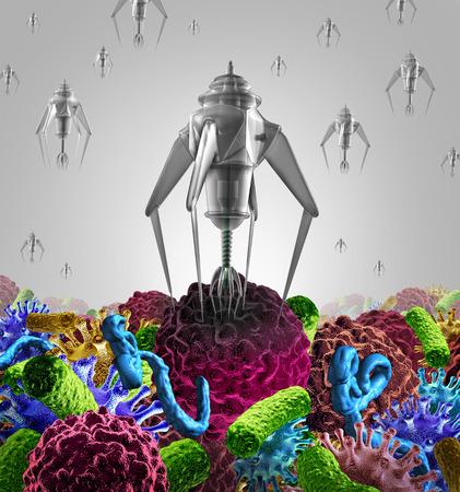 terapia de grupo: Nanotecnolog�a terapia m�dica concepto de medicina como un grupo de robots microsc�picos nano o nanobots programado para matar a la enfermedad como el virus de c�ncer y c�lulas de las bacterias mortales o enfermedades humanas como la atenci�n de salud s�mbolo cura futurista.