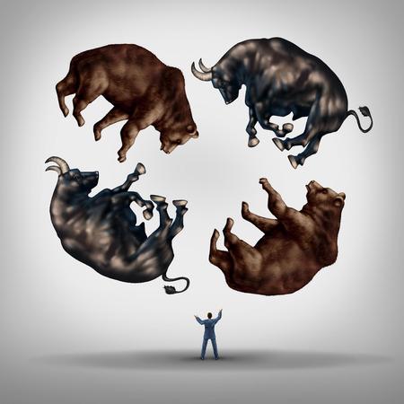 toros: Invertir en acciones concepto como un asesor o corredor de bolsa empresario financiera haciendo malabarismos con un grupo de osos y toros como un s�mbolo y la met�fora para el desaf�o y la habilidad necesaria para la gesti�n financiera de una cartera de inversiones.