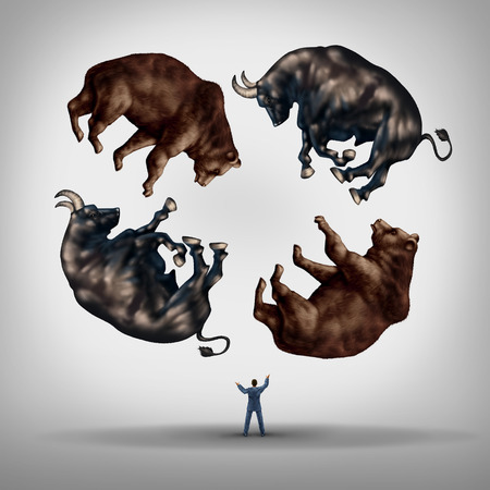 equity: Investing in stocks concept as a financial advisor or stock broker businessman juggling a group of bears and bulls as a symbol and metaphor for the challenge and skill required for financial management of an investment portfolio.