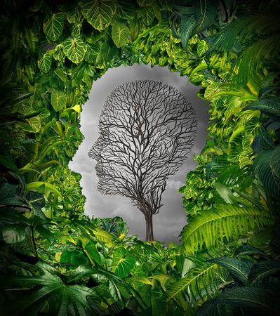Innerhalb Depressionen Konzept und inneren Gefühle der Verzweiflung als psychische Gesundheit Symbol mit einer gesunden grünen Pflanzendschungel Fenster als einem menschlichen Kopf und ein toter Baum als Leid Gesicht für Psychologie Prüfung geformt.