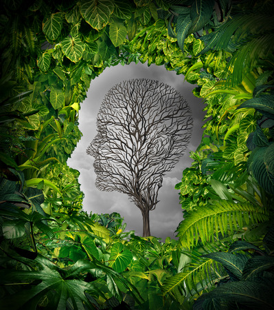 Inside depression concept and inner feelings of distress as a mental health symbol with a healthy green plant jungle window shaped as a human head and a dead tree as a suffering face for psychology examination. Stock Photo