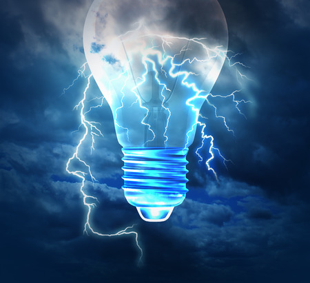 brain storm: Brainstorm creative idea concept or brainstorming symbol as a lightning bolt from the sky shaped as a human head with a lightbulb image as a metaphor to conceptualize and conceive solutions with new innovative bright thinking.