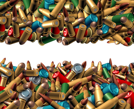 risk of war: Bullet ammunition border isolated on a white background as a concept with a group of different calibre ammo in a mixed heap representing the risk of violence and security social issues involving firearm weapons. Stock Photo