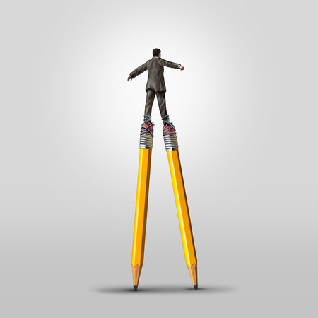 stilts: Creative skill concept as a clever businessman balancing on high pencil stilts attached to his legs as a business metaphor for leadership in imagination and innovative solution ideas.