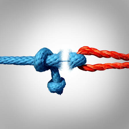 broken trust: Detached concept and disconnected symbol as two different ropes tied and linked together as a breaking chain and losing trust or faith metaphor as separation and divorce or broken severed relationship.