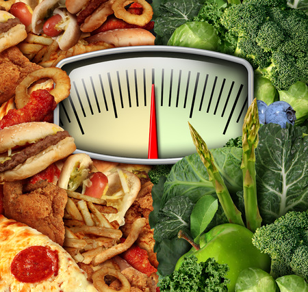 challenges: Dieting choice weight scale with unhealthy junk food on one side and healthy fruit and vegetables on the other half as a fitness and nutrition eating decision symbol.