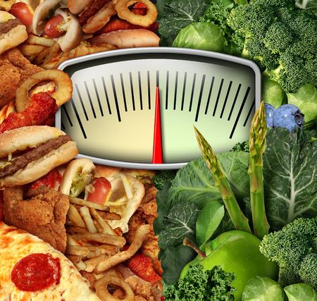 comida chatarra: Hacer dieta escala de peso elección con comida chatarra poco saludable en un lado y saludables frutas y hortalizas en la otra mitad como un símbolo de decisión de comer de fitness y nutrición.