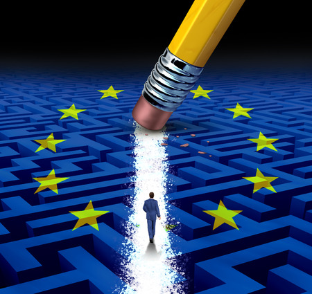 europe: Europe leadership Solutions with a businessman walking through a complicated maze with a european flag opened up by a pencil eraser as a business concept of innovative thinking for financial success.