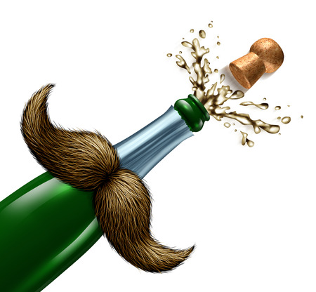 fatherhood: Fathers day celebration and I love you Dad party symbol with a mustache on  a champagne bottle that has a cork and bubbly wine exploding as an icon for celebrating fatherhood on a white background. Stock Photo