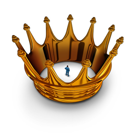constrained: Leadership prisoner business concept as a businessman trapped and restricted inside a gold king crown as a metaphor for having management restrictions and limited in powers to do much.