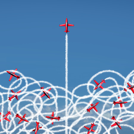 Management leadership concept and managing a crisis as a business symbol with a group of acrobatic jet airplanes creating confused tangled smoke trails with one jet breaking free to a clear path of risk opportunity as a metaphor for organization success.