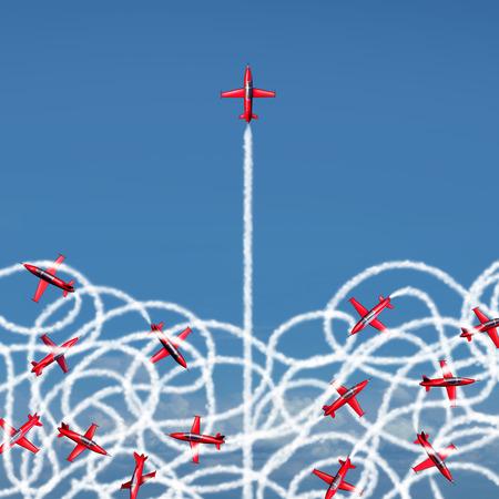 Beheer leiderschap concept en het beheer van een crisis als een bedrijf symbool met een groep van acrobatische straalvliegtuigen creëren verward verwarde rookslepen met één straal vrijkomen om een duidelijk pad van risico kansen als een metafoor voor organisatie succes. Stockfoto