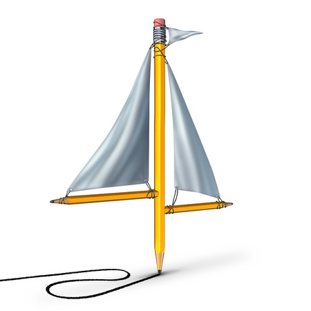 group direction: Sailing creativity metaphor as a group of pencils shaped as a boat sail representing the idea of adapting following the current trend and changing direction according to the winds of change.