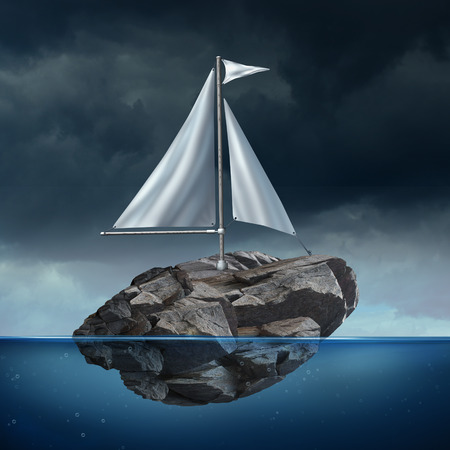 heavy risk: Sailing problem as a business concept with a sail on a floating heavy rock or boulder moving across the ocean as a potential metaphor for struggle and the power of possibility.