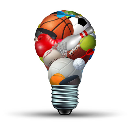 Sports activity ideas concept as a lightbulb shape on a white background with sports equipment as football soccer basketball boxing golf tennis  as a symbol for physical fitness and exercise for a healthy leisure active lifestyle. Banque d'images